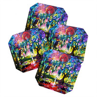 Ginette Fine Art Crimson Moon In Savannah Coaster Set