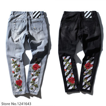 TOP quality off white embroidery jeans Ripped Denim Knee Hole Zipper mens harem pants Destroyed Torn joggers Biker fear of god
