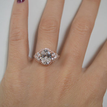 Rose Gold Art Deco Engagement Ring, 14k Oval Engagement Ring, 2ct Cubic Zirconia Ring, Halo Engagement with Side Stones