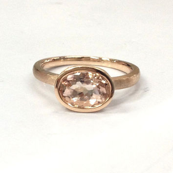 Morganite Engagement Ring 14K Rose Gold!E-W Direction Morganite Solitaire Wedding Bridal Ring,Unique Design,Bezel Set,Can make matching Band