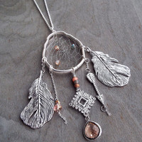 Couture Silver Birds Nest Dreamcatcher Necklace Dream Catcher One of a Kind 24""