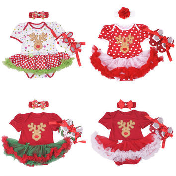 Lovely Infant Baby girl clothes Cotton Print Deer Christmas Romper dress/Bebes Coveralls for newborns+Toddler shoes+headband