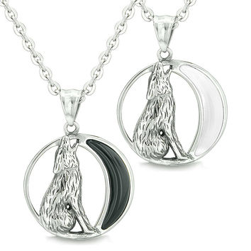 Amulets Love Couple Howling Wolf Wild Moon Powers Simulated Onyx White Simulated Cats Eye Necklaces