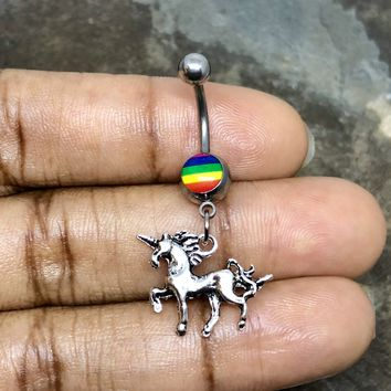 Unicorn 14 gauge stainless steel belly button navel ring, body jewelry, 14g