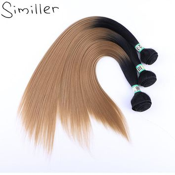 """Similler Women Afro Straight Synthetic Hair One Bundles Weaving Extensions Double Weft Ombre Color 1b/30/27 16"""" 18"""" 20"""""""