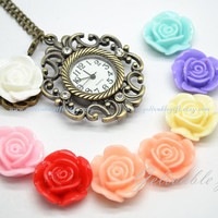 Royal flower pocket watch,star with white rose flower pendant pocket watch NWRF01