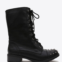 Spiked Toe Combat Boots - Black / 10