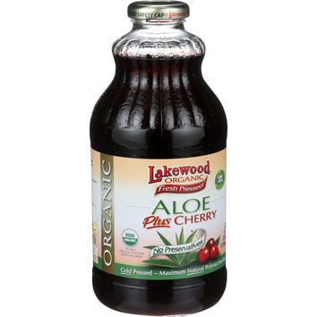 Lakewood Organic Aloe Juice - Whole Leaf - Fresh Pressed - Plus Cherry - 32 Oz