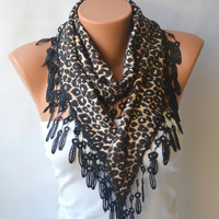 Leopard scarf - cotton jersey leopard scarf  winter scarf chunky scarf christmas gifts birthday gifts
