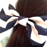 Navy Chevron Ponytail Holder , Navy Chevron Hair Bow