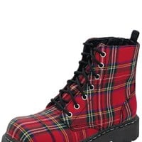 Red Plaid 7 Eye Boot