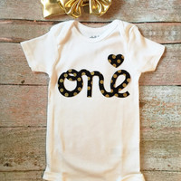 Baby Girl First Birthday Onesuit - White with Black & Gold Letters, Baby Smash Cake Onsie, Baby First Birthday Shirt, Baby Birthday Outfit