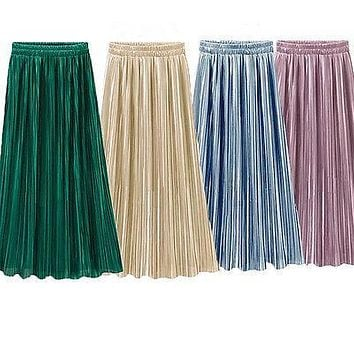 Vintage Women Metallic Luster Stretch High Waist Plain Skater Flared Pleated Long Skirt Gold Sequined Skirts