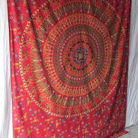 Twin Size Small Hippie Bedding Indian Barmeri Elephant Mandala Printed Cotton Tapestry Wall Hanging Throw Home Decorative Art