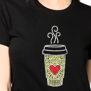 Women's Coffee Bling Rhinestones T-Shirt""
