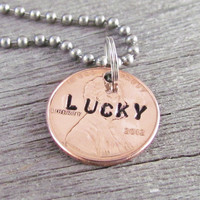 Necklace Lucky Penny Hand Stamped Personalized Good Luck Charm Man or Woman 2013 Pennies Available