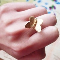 Gold Butterfly Ring - Cute - Adorable - Boho - Bohemian - Indie - Elegant - Romantic - Whimsical - Whimsy - Dreamy - Woodland Collection