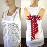 Les Miserables Bow Tank Top White Racerback T shirt Literary Book Text Tank Top Bow Book Clothing Pima Cotton