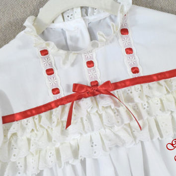 Girls Christmas nightgown , victorian nightgown , white cotton blend , toddler Christmas nightgown photo kids holiday size 2 3 4 5 6