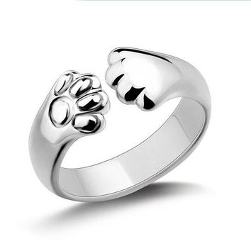LMFOK2 Sterling Silver Plated Cat Paw Ring