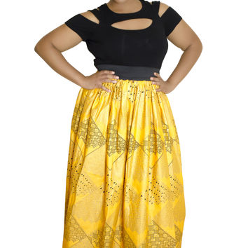Yellow Maxi African Skirt