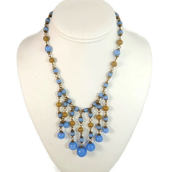 Deco Blue Czech Glass Necklace Bib Fringed Gilded Filigree Beads