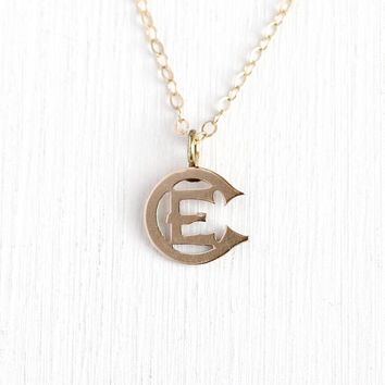 Antique Victorian Pendant - 10k Rose Gold Letter E / EC Brooch Pin Conversion Charm Necklace - Vintage Petite Dainty Initial Jewelry