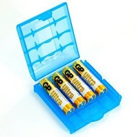 Bluecell 4 PCS Clear/Blue/Green/Purple Color AA / AAA 4 Cell Battery Storage Case + Bluecell Cable