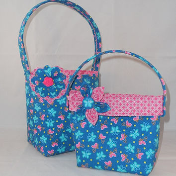 Blue And Pink Butterfly Themed Little Girls' Easter Basket and Purse