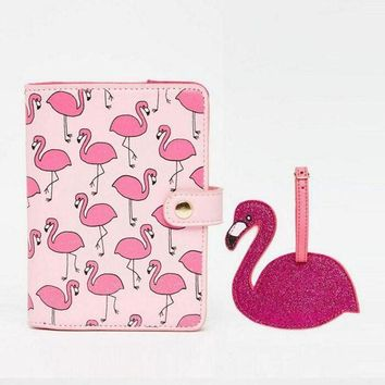 VONG2W 1 Set Shiny Pink Red Flamingo Bird Passport Holder Storage Womens Documents Folder Bag Mini wallet tag Travel Accessories Gift