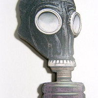 Gas mask wood brooch badge pin steampunk goth jewelry accessory