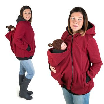 2018 Autumn Winter Kangaroo Coat Maternity Clothing Plus Size Pregnancy Jacket Premama Baby Carrier for 0-1 T Pregnant Hoodies