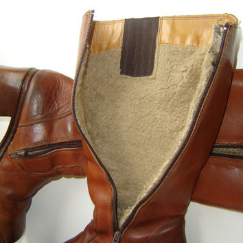 Vintage Leather Womens Boots, Whiskey Brown Caramel Boots, Leather Cowboy Boots Size 7.5