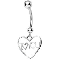 925 Sterling Silver I Love You Heart Dangle Belly Ring | Body Candy Body Jewelry