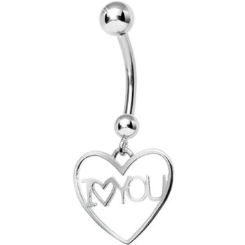 925 Sterling Silver I Love You Heart Dangle Belly Ring   Body Candy Body Jewelry