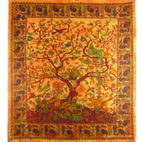 Orange Indian Dorm Decor Tree Of Life Wall Hanging Bedspread