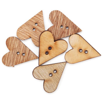 Favorite Findings Wood Buttons, Simple Hearts 6/Pkg , Assorted Wooden Heart Buttons