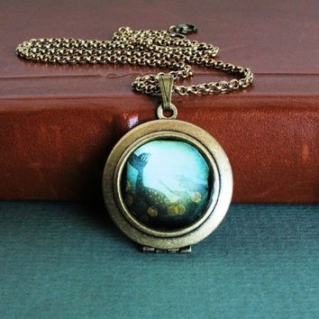 I've Heard The Mermaids Singing - Magical Underwater Mermaid Wearable Photo Art Locket Necklace
