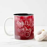 Modern Red White Hearts Happy Mother`s Day Two-Tone Coffee Mug
