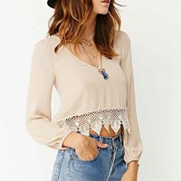 Ecote Lace Trim Boho V-Neck Shirt-