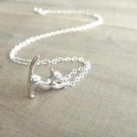 Cat Necklace in Sterling Silver  Darling Kitty by Beazuness