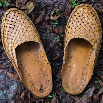 Genuine leather India, Nepal flat slippers pure handmade Camel Leather woven weaving retro cool drag men's shoes real leather