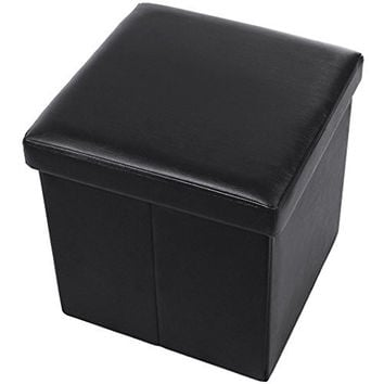 "SONGMICS Faux Leather Storage Ottoman Cube Foot Rest Portable 14 7/8"" Black ULSF101"