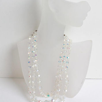 AB Faceted Crystal Necklace Three Strand Wedding Bridal Special Occasion Vintage