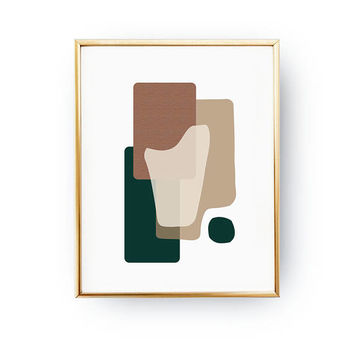 Abstract Wall Art, Modern Shapes, Simple Decor, Green Brown Artwork, Geometric Textures, Pastel Art, Minimalist Poster, Textured Watercolor