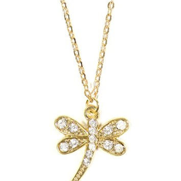 Crystal Dragonfly Necklace Vintage Art Nouveau Gold Tone Pendant NO23 Fashion Jewelry