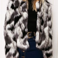 Multicolor Long Sleeve Fur Coat