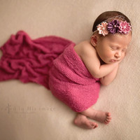 Set: Raspberry Stretch Knit Wrap and Couture Headband, newborn baby layer photography prop
