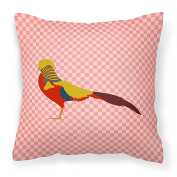 Golden or Chinese Pheasant Pink Check Fabric Decorative Pillow BB7928PW1414