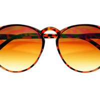 Womens Retro Vintage Keyhole Round Sunglasses Tortoise Brown Lens R1973